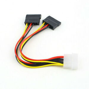 4 Pin IDE Molex to 2 of 15 Pin SATA HDD Power Adapter
