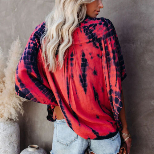 Women Summer V Neck Kimono Sleeve T Shirt Loose Button Blouse Casual Tie-dye Top Clothing, Shoes & Accessories