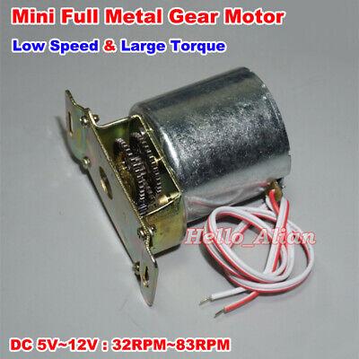 DC 5V-12V 83RPM Slow Speed Large Torque Full Metal Gear Motor Speed Reduction