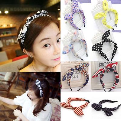 (New Wide Ribbon Bowknot Headband Hairband Wire Bendy Bow Rabbit Bunny Ear Cute)