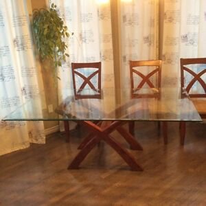 Glass X-Frame Pedestal Dining Table with Chairs Edmonton Edmonton Area image 2