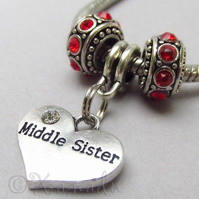 Middle Sister European Charm Pendant n Birthstone Beads For Large Hole Bracelets
