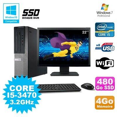 Lot PC DELL 3010 DT I5-3470 3.2Ghz 4Go 480Go SSD Graveur WIFI W7 + Ecran 22