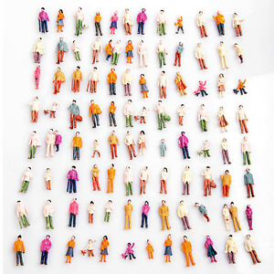 100pcs HO Scale 1:100 Mix Painted Model Train Park Street Passenger Figures
