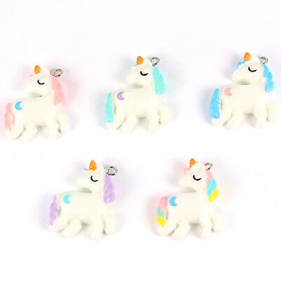 Cute Charms (10Pcs Mixed Color Cute Cartoon Unicorn/Moon Charms Pendants DIY Necklace)