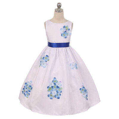 BLUE Girl Dress Decorated Flower Petals Birthday Bridesmaid Wedding Dance Prom (Spring Dance Decorations)