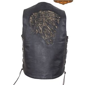 "'' NEW  NEW""""Mens Native American Retro Brown Leather Vest"