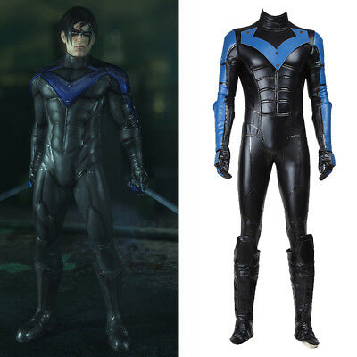 Batman Cosplay Arkham City Nightwing Robin Costume Jumpsuit Men Halloween Outfit (Arkham City Robin Halloween Costume)