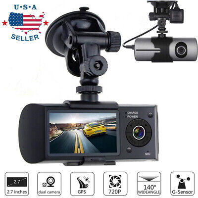 Dual Lens GPS Car DVR Camera Rearview Vehicle Dash Cam Video Recorder G-sensor