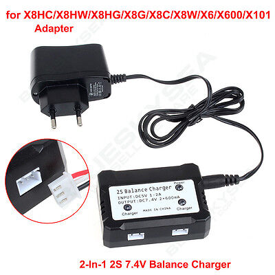 7.4V 2Port Drone Battery Balance Charger +Adapter for Syma X8C X8HW RC Helicoper