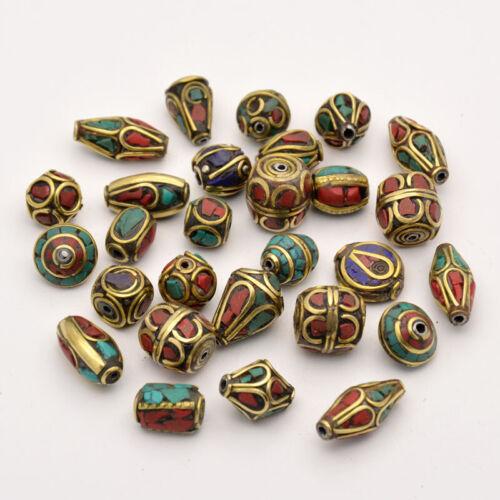Mixed Tibetan Handmade Turquoise Coral Inlaid Brass Nepal Beads, 6, 10, 50 pcs