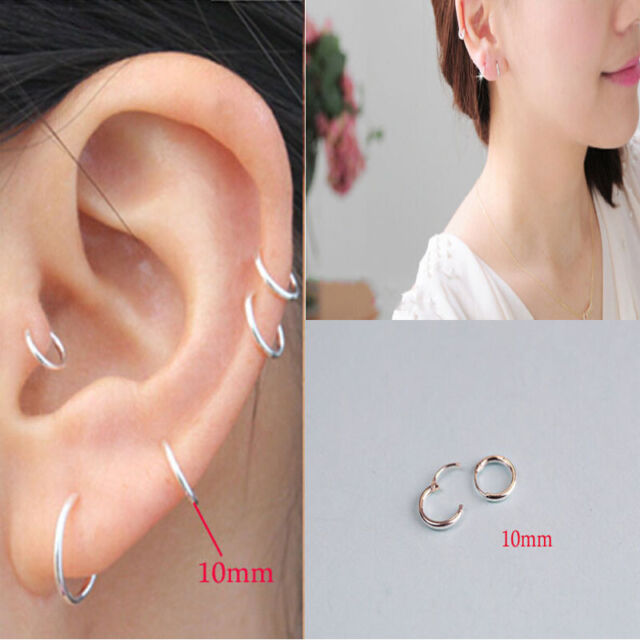 Womens Fashion Jewelry 925 sterling silver Round Hoop Dangle Earrings Studs q