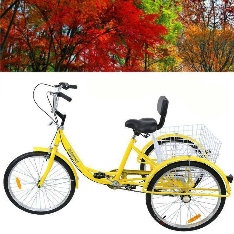"Ridgeyard 3-Wheel Adult 24"" Tricycle 7-Speed Bike Bicycle Tr"