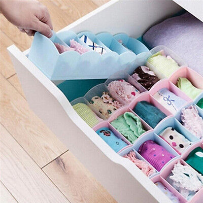 5 Grid Organizer Tie Bra Socks Drawer Cosmetic Divider Plastic Storage Box EV