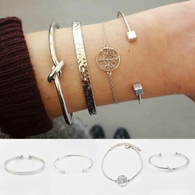 4pcs/Set Simple Women Silver Plated Open Adjustable Cuff Bracelet Bangle (Circle Silver Plated Bracelet)