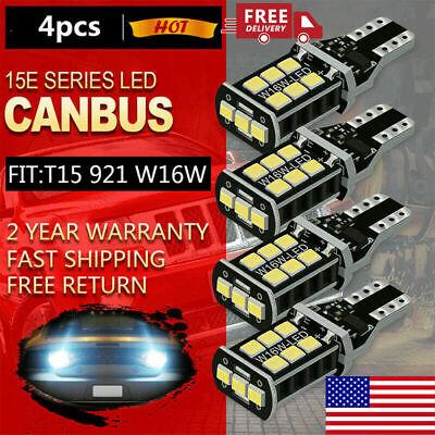 4X LED 921 Reverse Light Canbus Error Free 912 T15 W16W Backup Bulb White 2400LM