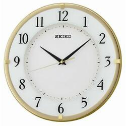 Seiko QXA658G Round Home Office Wall Clock with Arabic Dial - Gold / White Face