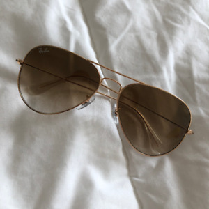 New SMALL 55MM Ray Ban Aviator RB3025 Gold Frame, Light Brown
