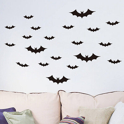 20 Pcs/Set Removable Diy Black Horrible Bat Wall Decals Stickers Home Art LY