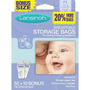 LANSINOH BREASTMILK STORAGE BAGS 50 CT +10 bonus ~ Freezer/Fridge NEW BPA FREE
