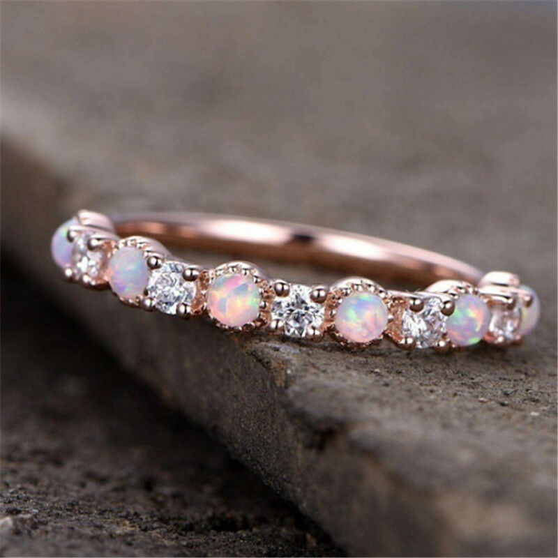 Gorgeous Rose Gold Filled Pink Fire Opal Women Party Cocktai