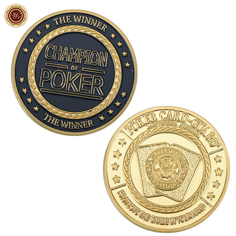 WR Gold Coin Poker Chip Card Guard Challenge Coin Table Game Good Luck Gifts