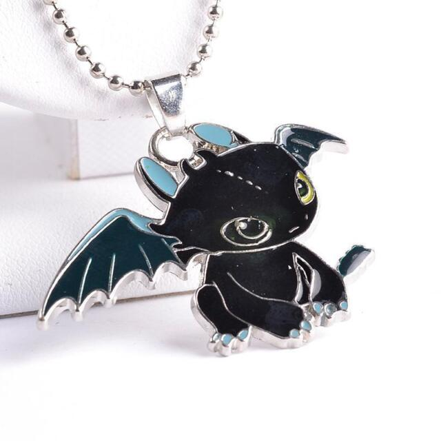5PC Zinc Alloy Dragon Toothless Night Fury Metal Necklace Pendant Jewelry Hot C%