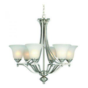 Handsome 6-Light Brushed Nickel Chandelier – SPOTLESS!!