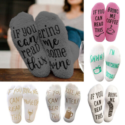 Women Men Warm Socks Plush Letter Print Hosiery Bring Me Win