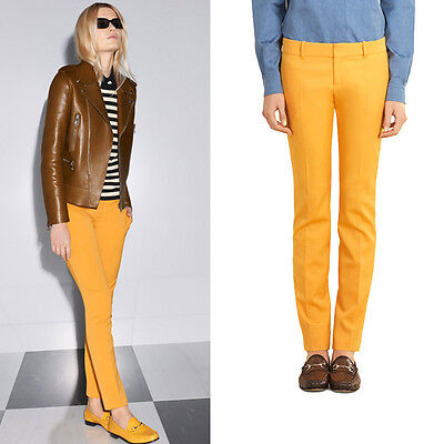 sz 40 NEW $995 GUCCI RUNWAY Yellow WOOL SILK Skinny CLASSIC Trouser Spring PANTS