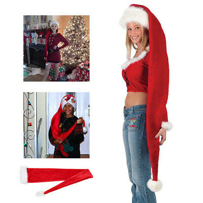 Long Cozy Wrap Elf Santa Hat Adult Christmas Party Costume Accessory Red White