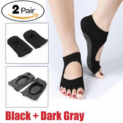 2 Pairs Gym Sports Yoga Socks Non-Slip Toeless Pilates Ankle Grip Cotton Socks Non Cotton Socks