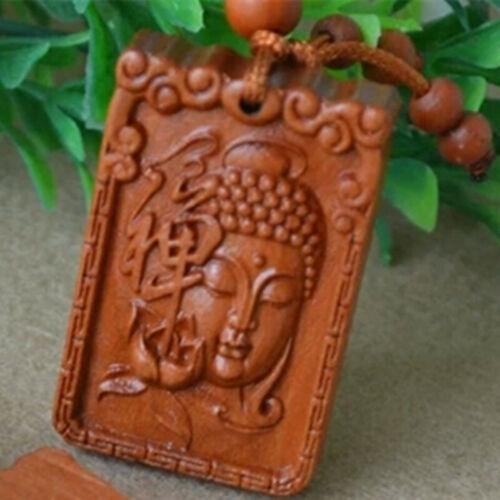 Buddha Shakyamuni Statue Zen Wood Carving Chinese Pendant Key Chain Keyring
