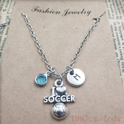 Creative I love soccer pendants,Silver initial letter birthstone Necklace
