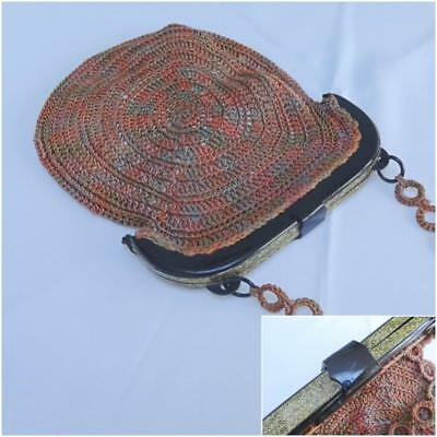 Vintage 1920s Flappers Celluloid Purse Bag - Faux Tortoiseshell & Gold Glitter