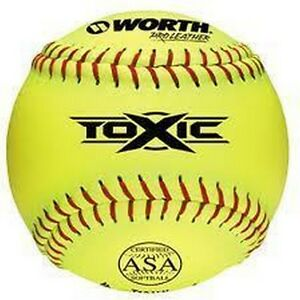 1 Dozen Worth T12ALY Toxic ASA Pro Leather Slowpitch Softballs New In Wrapper!