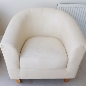2 x cream tub chairs