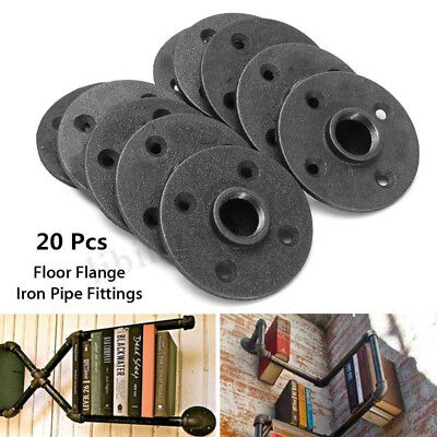 20pcs 34 Black Malleable Threaded Floor Flange Iron Pipe Fittings Wall Mount