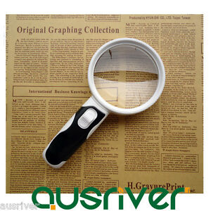Hand Held Detachable 20x Magnifying Glass Lens Magnifier Loupe with 2 LED Lights