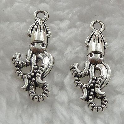Wholesale free ship 39pcs tibet silver octopus charms 32x17mm
