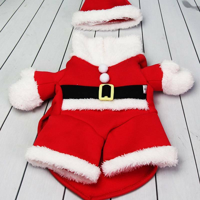 Christmas Pet Small Puppy Dog Cat Santa Claus Cape Coat Costume Outfit Cosplay 9