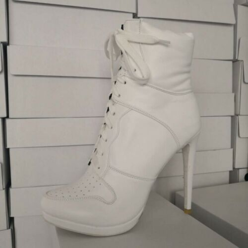 Women/'s Pointy Toe High Top Sneaker Lace Up Stilettos Ankle Boots Shoes New