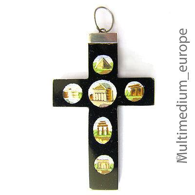 romosaik Onyx Biedermeier Kreuz Anhänger micro mosaic selten (Mosaik Kreuz)