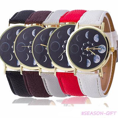 Fashion Ladys Moon Phase Astronomy Space Watch Womens Leather Quartz Wrist Watch