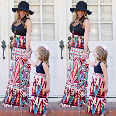 US Ship Family Clothes Mother Daughter Beach Sundress Women Kids Girl Maxi Dress - Kids Maxi Dress