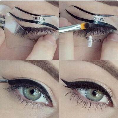 2Pc Ladies Cat Line Eye Makeup Eyeliner Stencils Template Shaper Model Beauty -