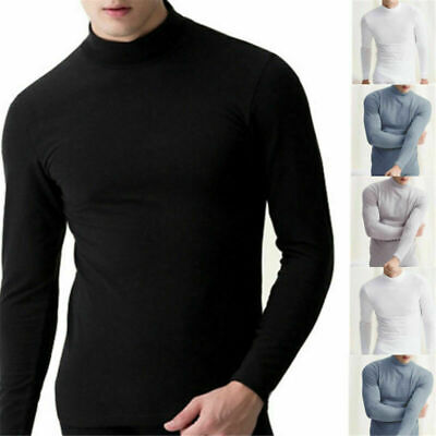 Fashion Mens Warm Long Sleeve T-shirt Jumper Undershirt Casual High Neck Tee Top