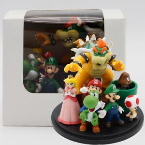 Super Mario Bros Bowser Princess Peach Yoshi Luigi PVC Action Figure Toy Model