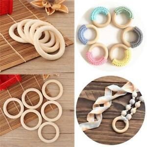 5PCS 70MM Wooden DIY Crafts Connectors Circles Natural Wood Teething Rings