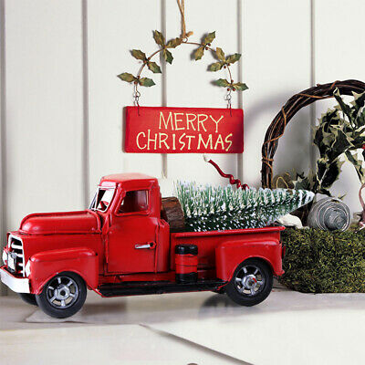 Red Christmas Decorations (Movable Vintage Christmas Decor Red Truck Kids Xmas Gift Table Desk)